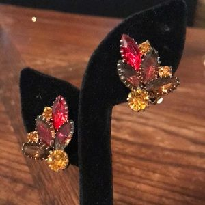 VTG clip on earrings with rich colors